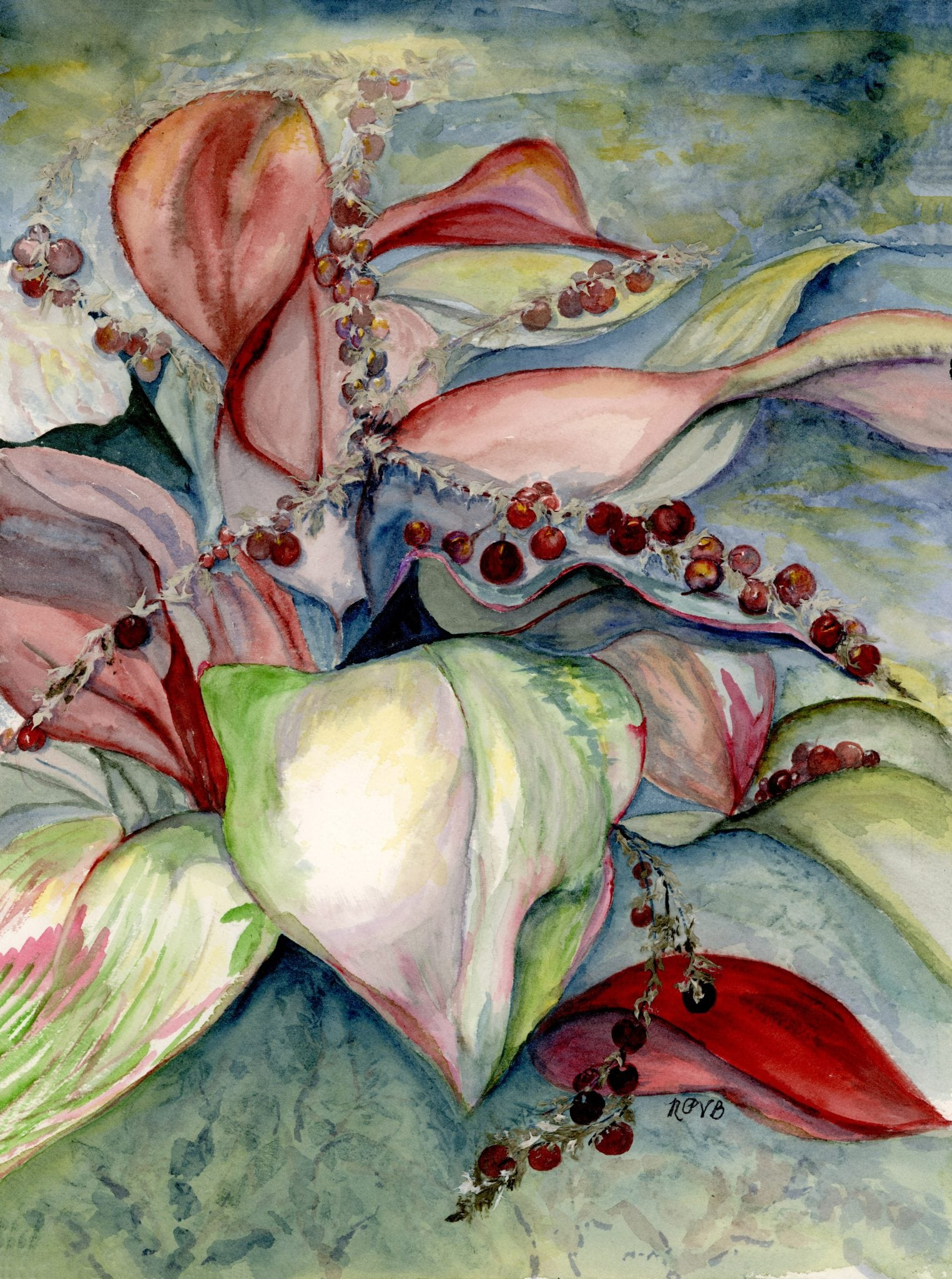 """Hawaiian Jungle"", watercolor, by Nancy Present-Van Broekhoven"