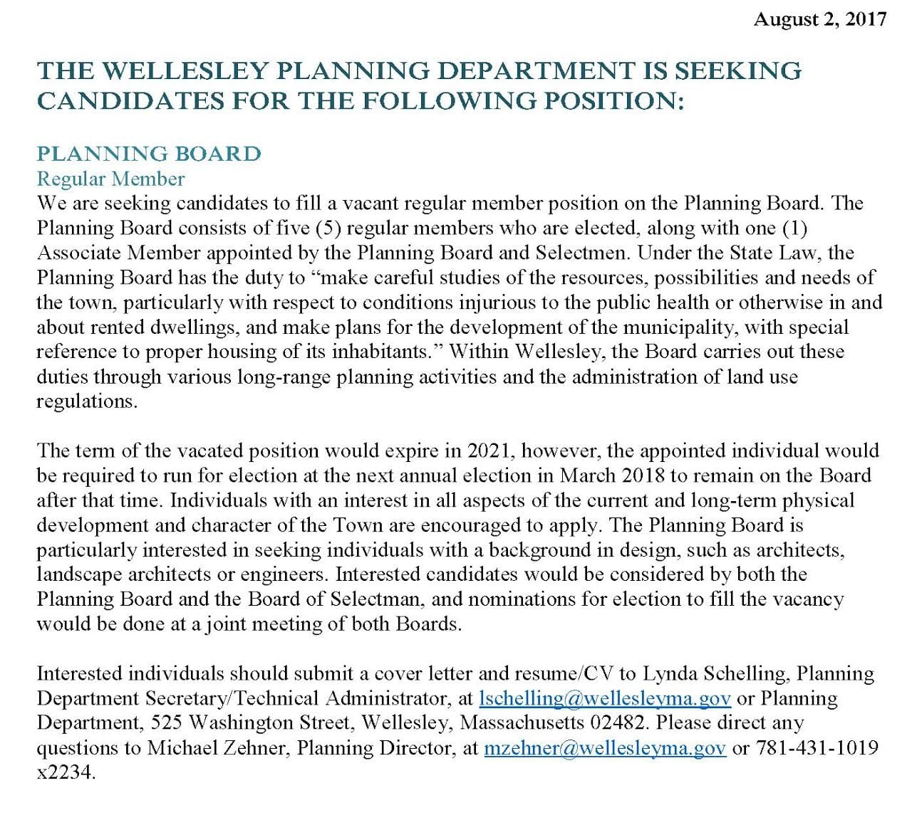 Wellesley Planning Board