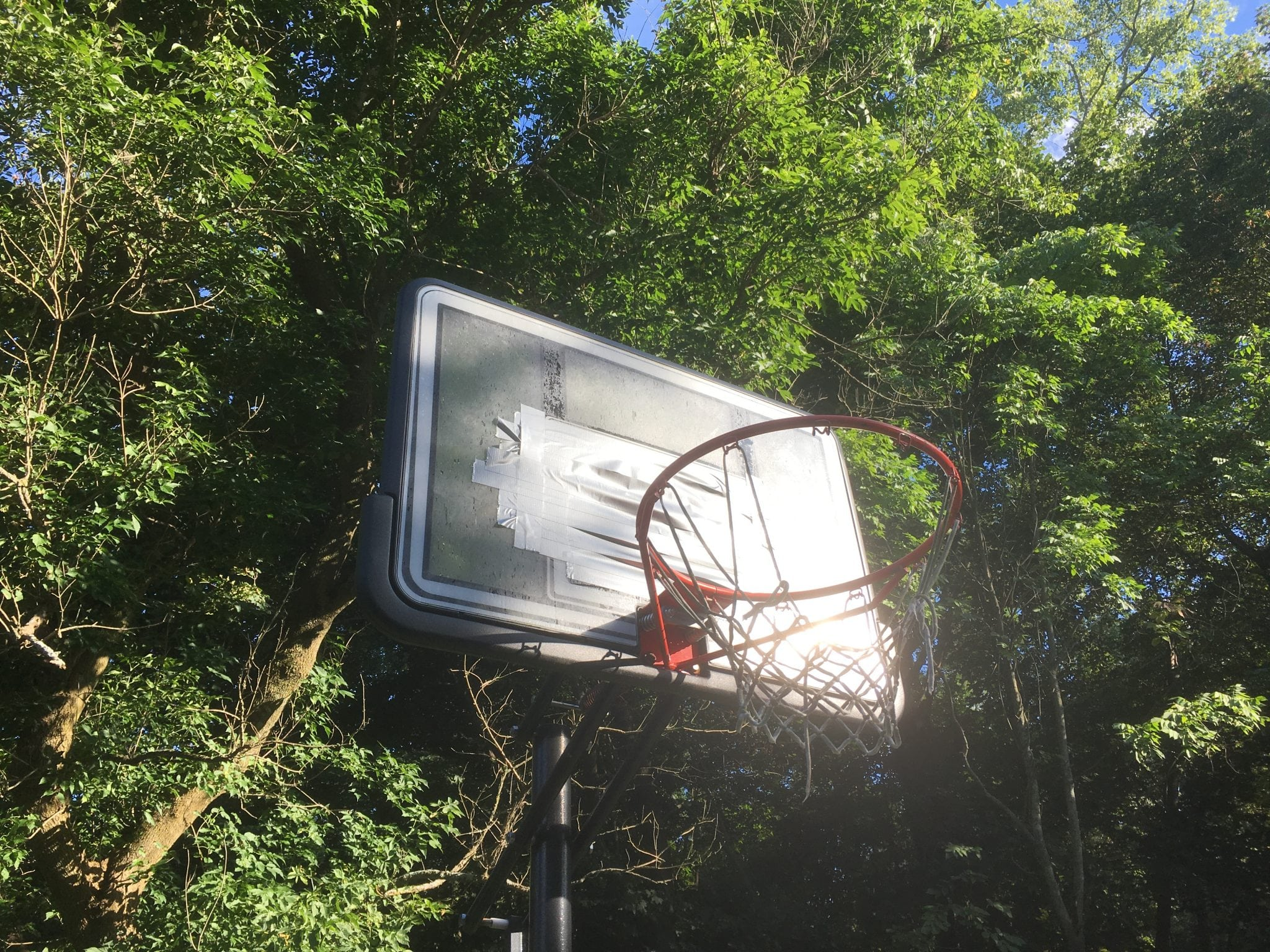 basketball hoop, duct tape, wellesley