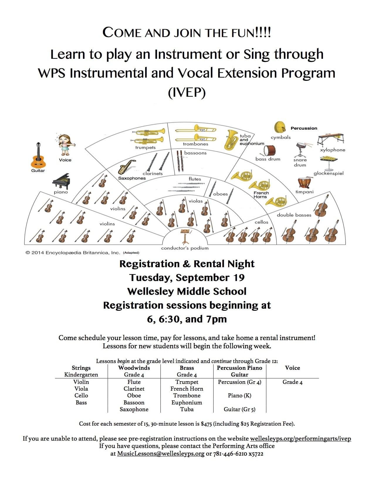 Wellesley Instruemental/Vocal sign-ups