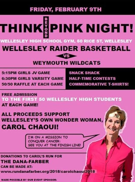 Wellesley basketball pink night