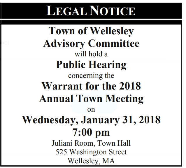 Wellesley Town Warrant notice 2018
