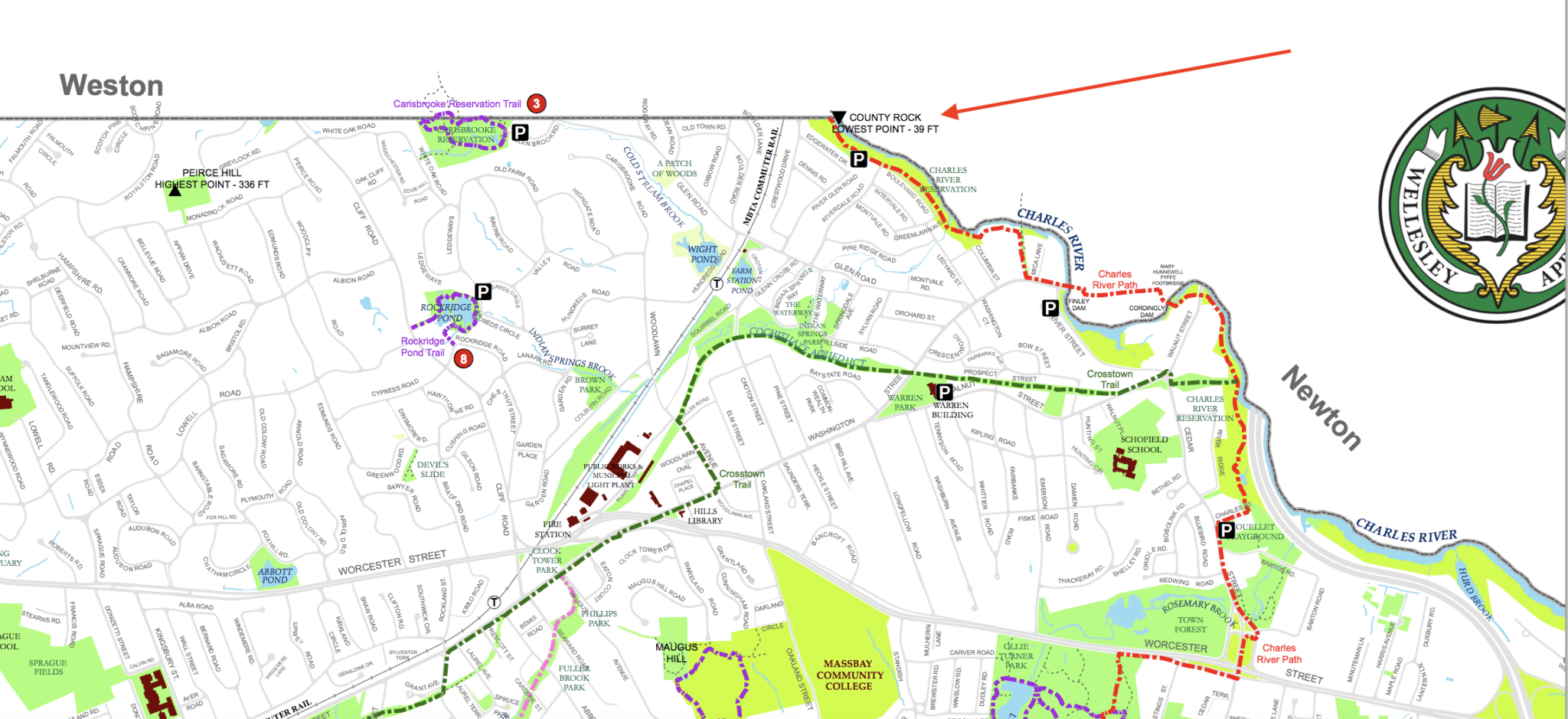Wellesley Trails map