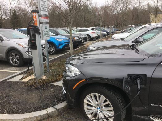 Electric car charging station, Wellesley Whole Foods