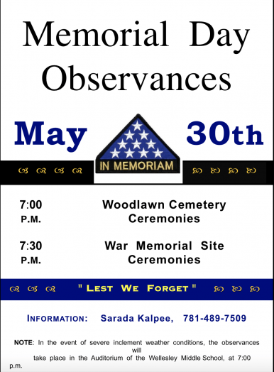 Wellesley memorial day