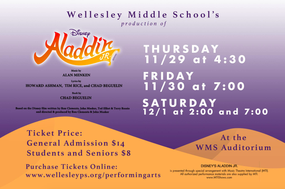 Wellesley MS, Aladdin Jr.