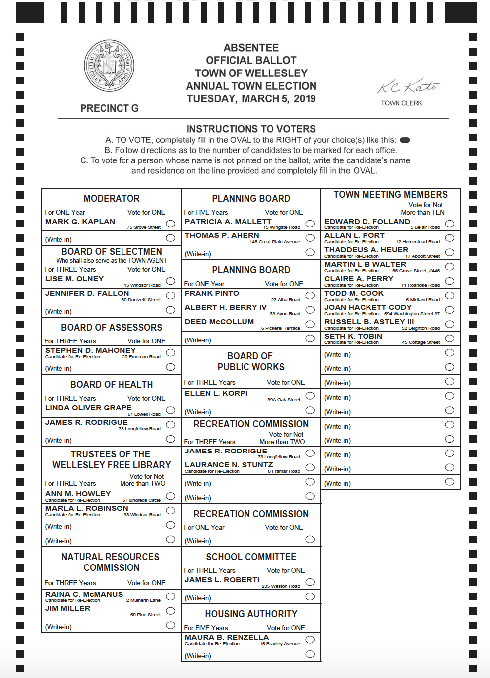 Sample Wellesley 2019 ballot