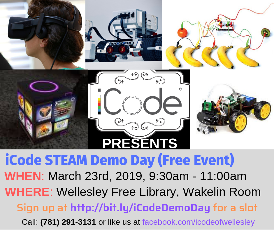 Free iCode STEAM demo day at Wellesley library