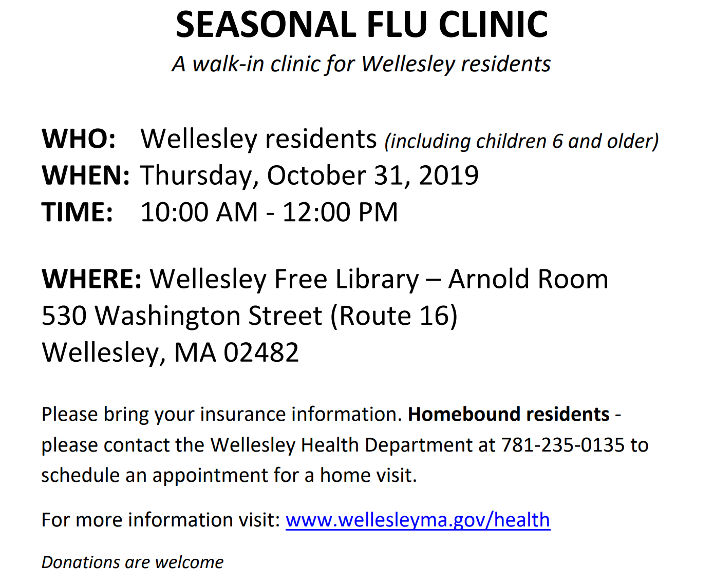 Wellesley flu clinic