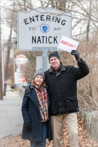 Entering Natick, Bob and Deb