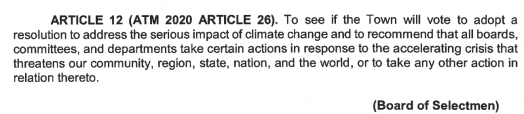 article 12 climate 2020 town meeting